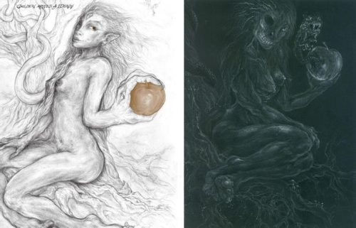 'Idun (with the Golden Apple of Immortality) and Hela - corresponding pages from Coagula (Gold Book of the Tela Quadrivium) and Solve (Black Book of the Tela Quadrivium) contrasting the immortality of the soul and the mortality of the body